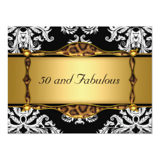 50 and Fabulous Gold  Damask Birthday Party 6.5x8.75 Paper Invitation Card