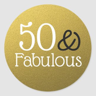 50 And Fabulous Gold Glitter Birthday Classic Round Sticker