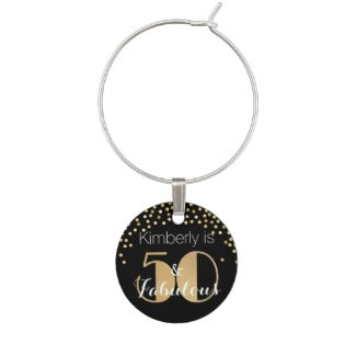 50 and Fabulous Gold Personalized Birthday Party Wine Charm