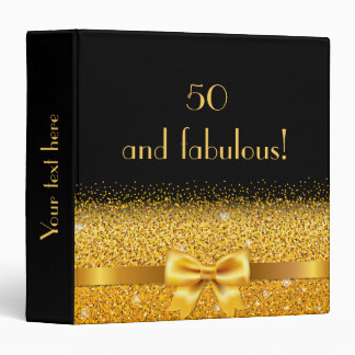 50 and fabulous golden bow with sparkle on black 3 ring binder