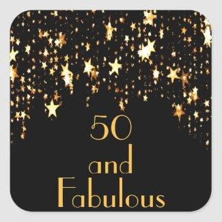 50 and fabulous on black with shining stars