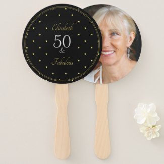 50 and Fabulous Photo black and gold Hand Fan
