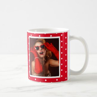 50 and Fabulous Photo Name Red 50th Birthday Red W Coffee Mug