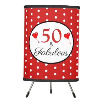 50 and Fabulous Photos Custom 50th Birthday WH Red Tripod Lamp