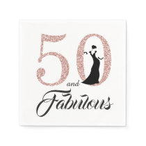 50 and Fabulous Pink Glitter Birthday Party Napkin