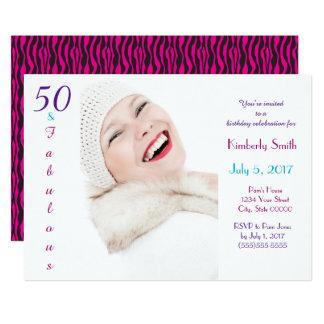 50 and Fabulous Pink Purple Blue Birthday Custom Card
