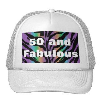 50 and Fabulous ~ Rainbow Zebra Fun Collection Trucker Hat