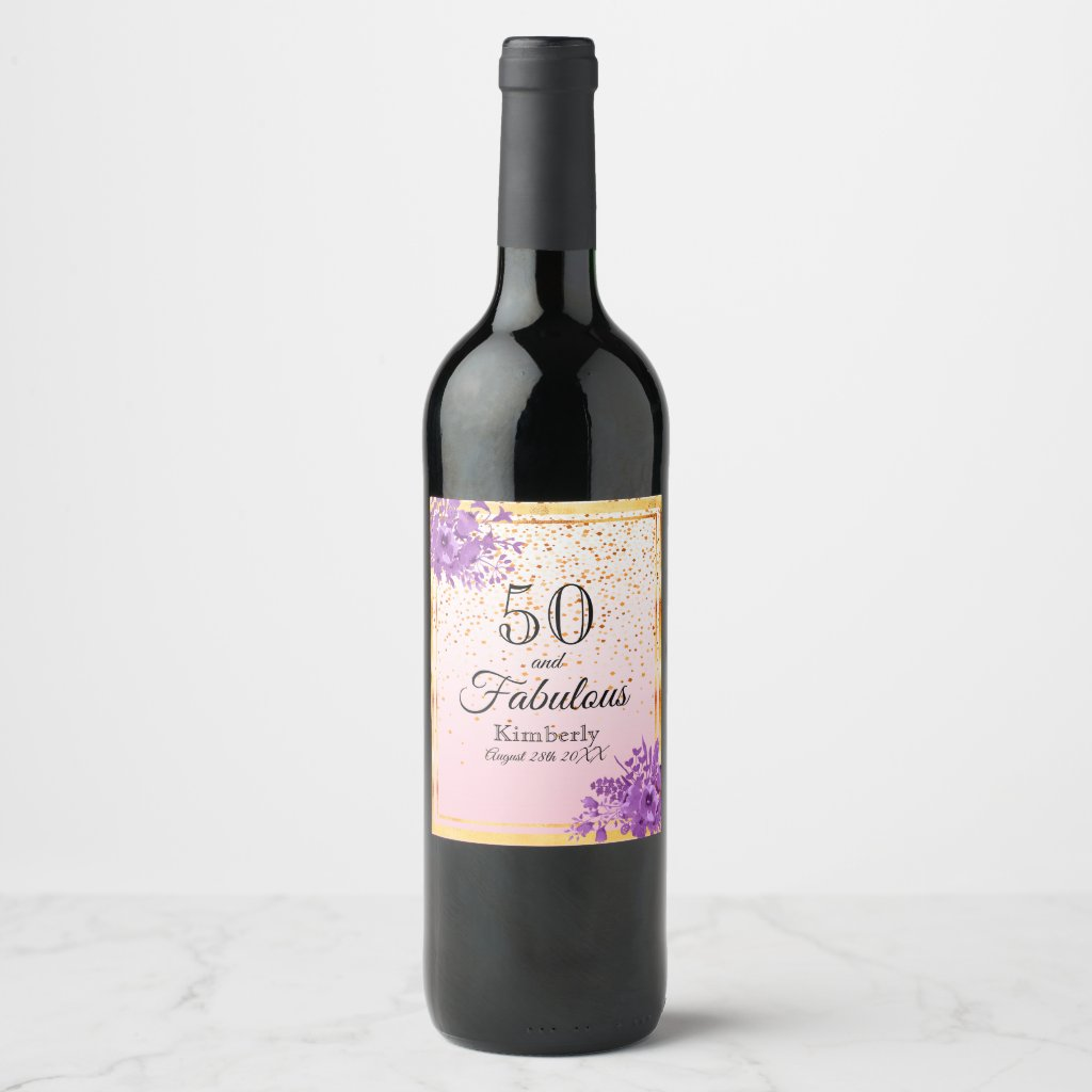 50 and fabulous rose gold confetti and flowers wine label