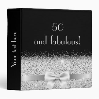 50 and fabulous silver colored bow on black 3 ring binder