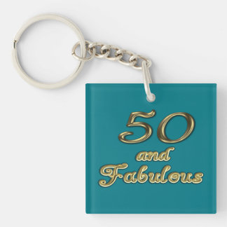 50 and Fabulous Square (double-sided) Keychain