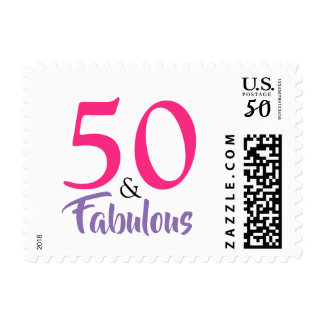 """50 and Fabulous"" stylish 50th Birthday Postage"