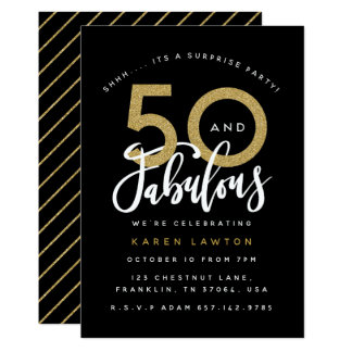 50 and fabulous surprisebirthday party invitation