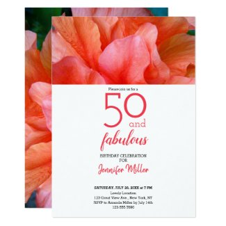 50 and Fabulous Tropical Flower Photo Birthday Card