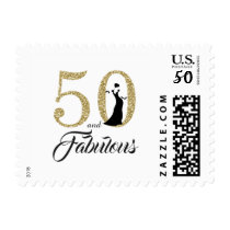 50 and Fabulous | Typography 50th Birthday Postage