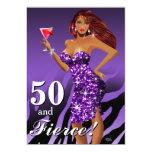50 and Fierce Glam Sparkly Zebra Bombshell purple 5x7 Paper Invitation Card