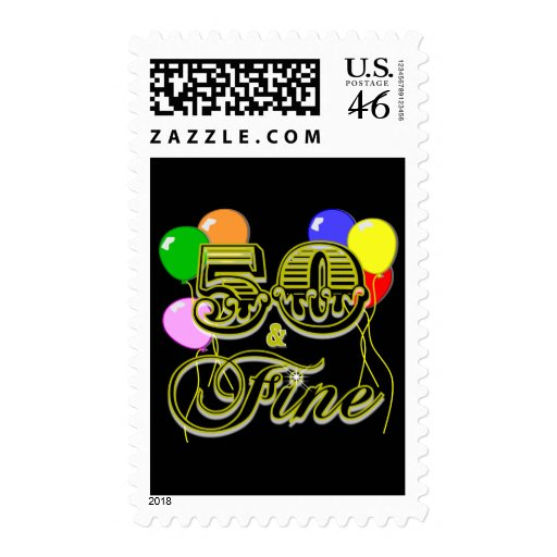 50 and Fine Birthday Gifts and Apparel Stamp