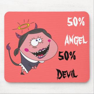 50% Angel 50% Devil Funny Girl Mousepads
