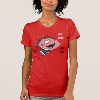 50% Angel, 50% Devil Humorous Woman's T shirts