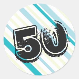 50 años Bday - 50.a fiesta de cumpleaños Pegatina Redonda