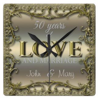 50 años de amor reloj cuadrado