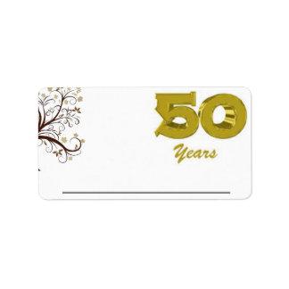 50 años de etiqueta del nombre etiqueta de dirección