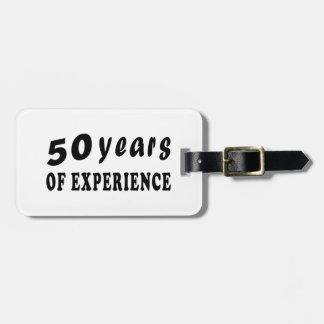 50 años de experiencia etiquetas maletas