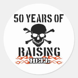 50 años de infierno de aumento pegatina redonda