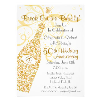 50 años de oro de celebración de Champán Invitaciones Personales