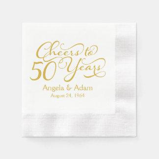 50.as alegrías personalizadas del oro del aniversa servilletas desechables