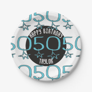 50.as fuentes personalizadas del fiesta de las plato de papel de 7 pulgadas