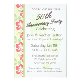 50.as invitaciones hawaianas de la fiesta de invitación 12,7 x 17,8 cm