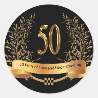 50.as tarjetas de felicitación felices del pegatina redonda