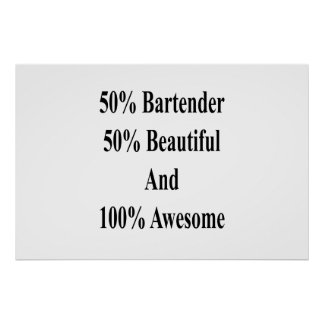 50 Bartender 50 Beautiful And 100 Awesome Poster