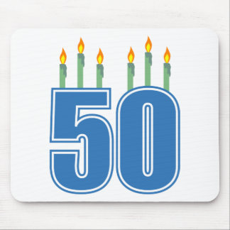 50 Birthday Candles (Blue / Green) Mouse Pad