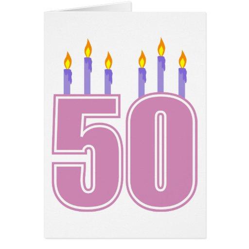 50 Birthday Candles (Pink / Purple) Card