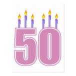 50 Birthday Candles (Pink / Purple) Postcards