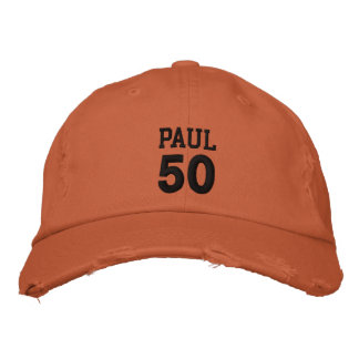 50 Birthday Custom Name BLACK Embroidery V01C5 Embroidered Hats