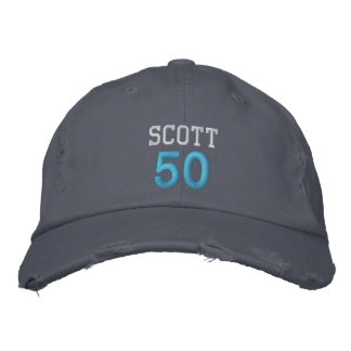 50 Birthday Custom Name BLUE Embroidery V01C2 Embroidered Hats