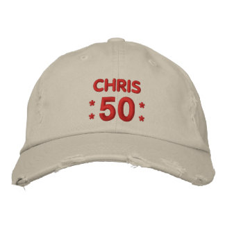 50 Birthday Custom Name RED and NATURAL V66E Embroidered Baseball Cap