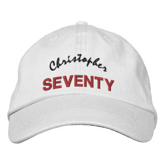 50 Birthday Custom Name RED BLACK Embroidery V01C3 Embroidered Hats