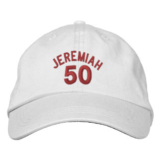 50 Birthday Custom Name RED Embroidery V01C2 Embroidered Baseball Cap