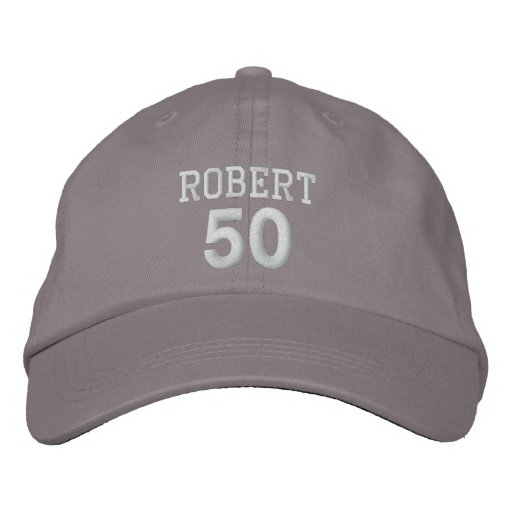 f6e5e1a2c03 50 Birthday Custom Name WHITE Embroidery V01C Embroidered Baseball Cap