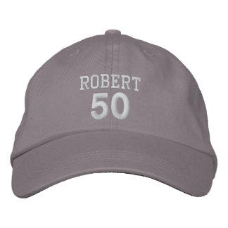 50 Birthday Custom Name WHITE Embroidery V01C Embroidered Baseball Caps
