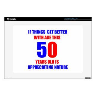 """50 Birthday Design Skin For 15"""" Laptop"""