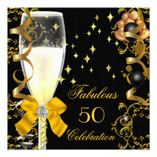 50 Birthday Party Fabulous Champagne Gold Black Invitations