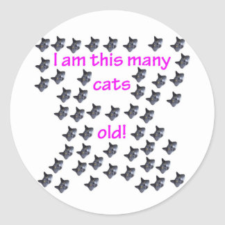 50 Cat Heads Old Classic Round Sticker