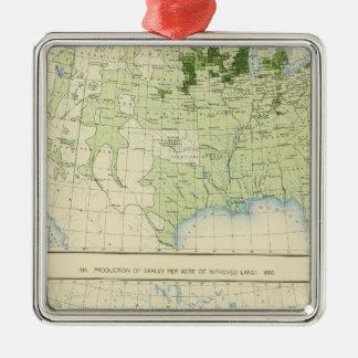 50 cebada 1890 adorno navideño cuadrado de metal