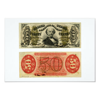 50 Cent Fractional Currency Francis Spinner 3.5x5 Paper Invitation Card
