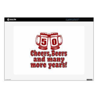 """50 Cheers Beers Birthday Designs 15"""" Laptop Skins"""