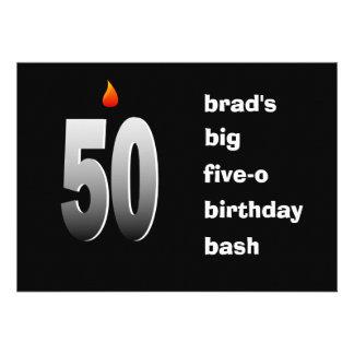 50 con la llama invitación grande del golpe de Fi